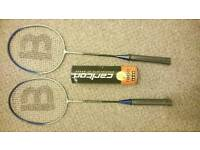 Badminton rackets and 6 shuttlecocks
