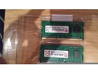 "2 x ""Transcend"" 2GB ram chips - ""1Rx8 DDR3L 1600 SO DIMM"""