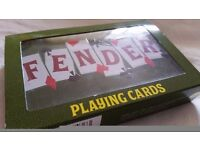 Fender guitar playing cards in metal tin stratocaster telecaster