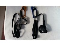 Pretzl left and right rope ascenders with foot tapes for climbing or boating