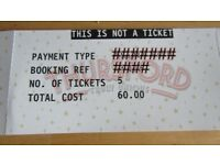 REDUCED THURSFORD TICKETS
