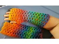 Lacey hand made crochet wristwarmers 100% wool 4ply