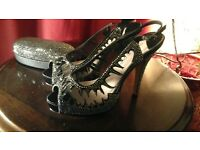 Reduced price - Fabulous moda in pelle high heel stiletto shoes size 40 eu + optional bag