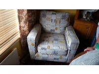 Cargo chair (arm chair / sofa chair) grey with retro pattern