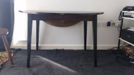 Vintage Dark Solid Wood Circular Fold-Down Dining Table £50ono