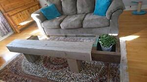 Beautiful glass/wood planter table