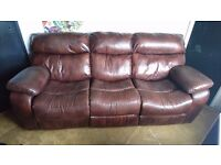 Brown leather recliner.