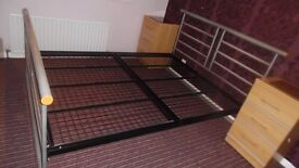 Bed frame: Alston's kingsize metal bed frame. Very sturdy and excellent condition