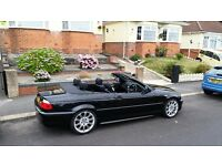 SUPERB BLACK BMW 325i CONVERTIBLE WITH MATCHING HARD TOP