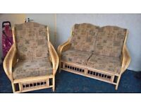 Cane 2 seater sofa and armchair