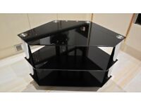 Black Glass 3 Shelf TV Stand with metal legs