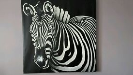 Extra large zebra canvas , placemats and brand new lampshade