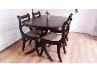 Dining table + 4 chairs extendable