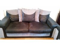 3 Seated Large SCS Sofa Black & Gary (very good condition)