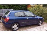 2003 Nissan Almera SVE Auto 1769cc petrol. Blue hatchback.Has hand controls for disabled driver
