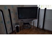 LG 42 INCH HDMI TV LG DVD PLAYER LG SURROUND SYSTEM & STAND