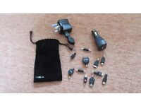 Nexxus Phone/Tablet Charger Kit comprising mains charger, car charger and 9 connectors.