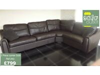 Designer Dark Brown Leather 3 piece corner (44) £799