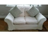 Sofa x 2 two seater settees white good condition
