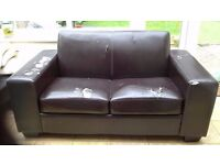 Free Brown 2 seater Leather sofa