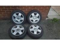 "15"" VW golf polo bora beetle alloy wheels & tyre's"