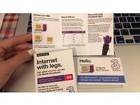 Unused Three Pay as you go sim card 1GB data worth £10