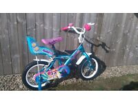 Young girls bike 4 to 7 years with stabilizers quick sale £20