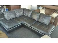Black corner leather sofa ( free delivery)