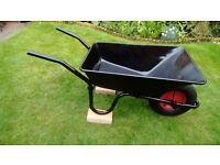 Heavy duty black wheelbarrow