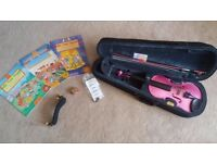 Metallic pink 3/4 size beginner violin with case, accessories and Fiddle Time books and discs