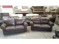 REAL LEATHER SOFA SET 2+2 GOOD CONDITION