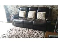 Like new Brown reclining leather sofs
