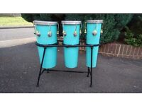VINTAGE 1960S 3 WOODEN CONGAS IN ORIGINAL STEEL RACK FAB SOUND MODERN HOME DECOR DISPLAY USE GC
