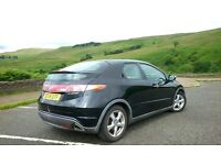 Black Honda Civic i-vtec stort 1.8 petrol 5 door