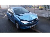 BREAKING PEUGEOT 206 LX HDI 2001 Y 2.0 TURBO DIESEL MANUAL TIVOLI BLUE KNY 98K