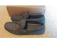Massimo Dutti Men's Blue Suede Leather Loafers Driving Shoes Size UK 8 Nobuck