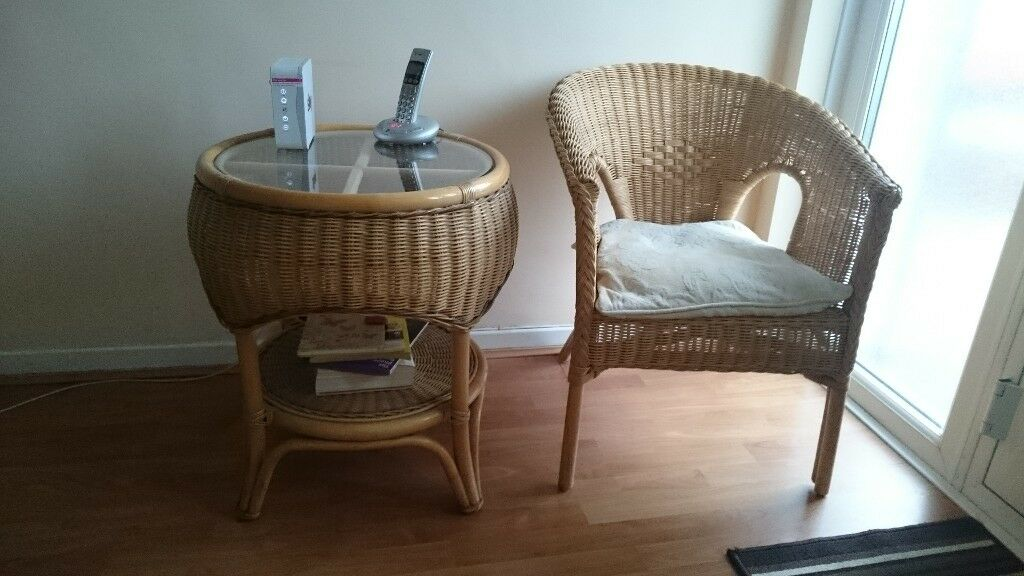 Wicker glass top table, wicker chair and mirror