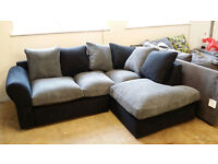 NEW Graded Grey Chenille Fabric Corner Sofa Suite Local Delivery Available