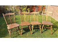 4 wooden Dining, Kitchen Country Chairs