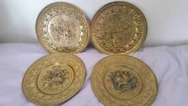Set of 4 brass wall plates