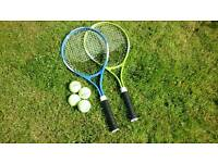 PAIR OF TENNIS RACQUETS AND BALLS