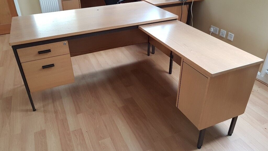 office table wood. Sturdy Office Desk With Detachable Side Extension. Metal Frame Solid Wood Top And Sides. Table