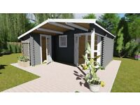 L shape Log Cabin 5.x4.8m Under 2.5m H, comes with floor, roof and shingles. A top quality.