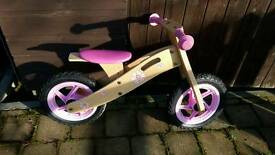 Girls pink flower balance bike