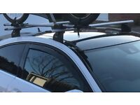 Mercedes C Class w204 coupe complete Thule roof bars and 2x Thule Freeride bike carriers