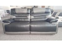 Ex-Display ScS Venus Black/Grey 3 Seater Manual Recliner Sofa **CAN DELIVER**