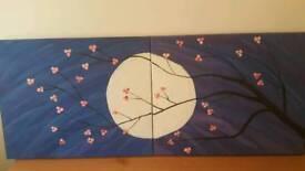 Abstract acrylic painting / night sky full moon