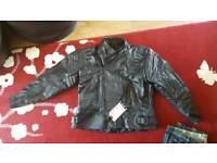 Leather motorcycle jacket size 52