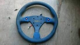 Sparco Steering wheel, Blue alcantara