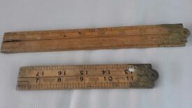 Two retro Boxwood Measures one 2 ft one 3 ft. old collectable ideal for top pocket use
